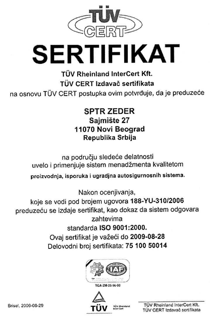 Certifikát Zeder Srbsko