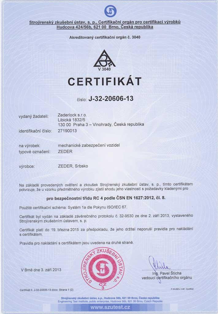 Műszaki Vizsgálati Intézet alapján kiadot RC4-es bizonyítvány