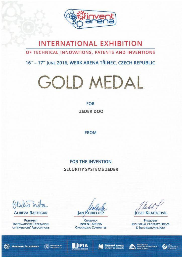 Nemzetközi kiállításan elnyert aranyérem