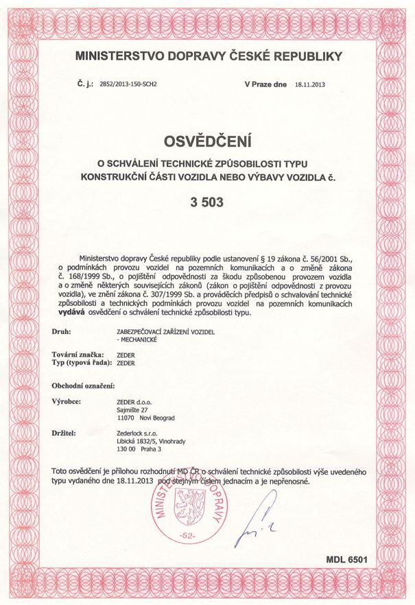 Alkalmassági bizonyítvány- Cseh Közlekedési Minisztérium